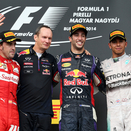 Daniel Ricciardo takes the podium in the Hungaroring