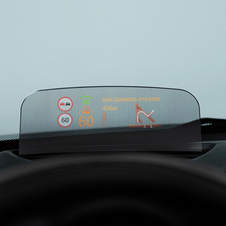 The Mini head-up display is shown just above the steering wheel