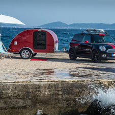 The Crowly teardrop camper sleeps two people and includes a kitchenette, tv and solar cell