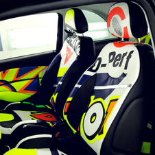 The interior uses the same leather that Rossi's racing suit is made from