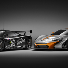 The McLaren P1 GTR side-by-side with its historical ancestor, the F1 GTR