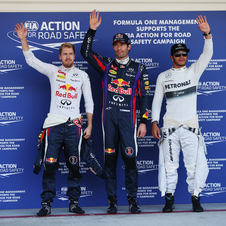 Webber, Vettel and Hamilton were the top three drivers in qualifying