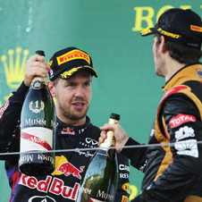 Romain Grosjean performed well throughout the race but could not hold off Vettel and Webber