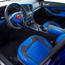 The interior gets custom leather seats with Superman logos