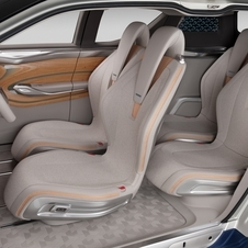 The interior is the concept car standard of wood and acrylic
