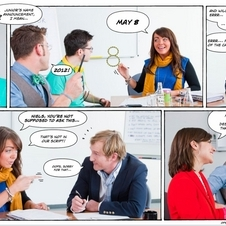 The comic shows actual Opel employees in still images
