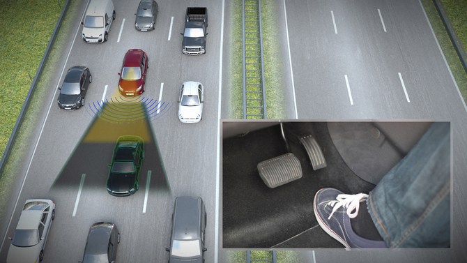 The Traffic Jam Assist does everything for the driver at low speeds