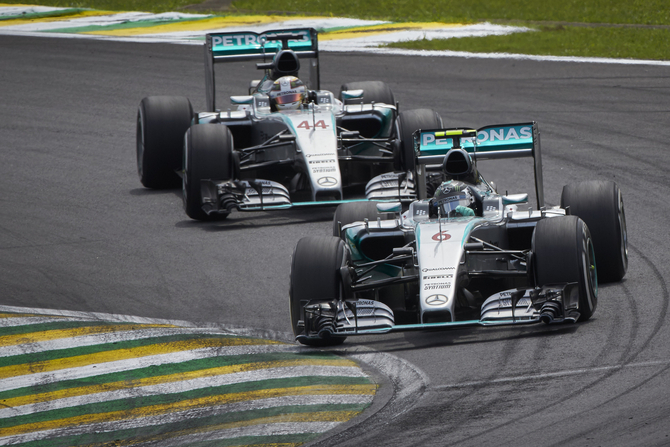 Hamilton and Vettel completed the podium in Interlagos