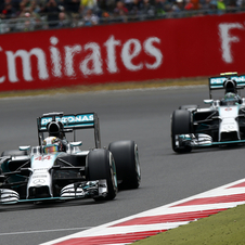 Both Mercedes were fighting for the win midway in the race
