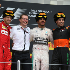 Vettel and Perez joined Hamilton on the podium