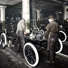 In 1913, Ford began producing cars on the moving assembly line