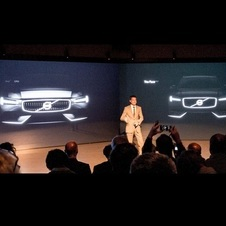 The front of Volvo's in the future will have a rectangular grill, T-shaped running lights, and a front air dam stemming from the emblem