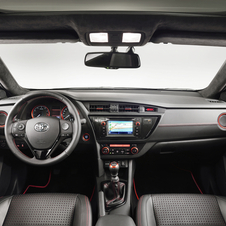 The Auris Touring Sports Black gets a black Alcantara headliner and red trim