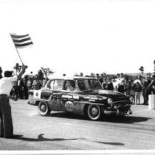 1957- Toyota competes in motorsport for first time at Mobilgas Round Australia Rally with Toyopet Crown Deluxe