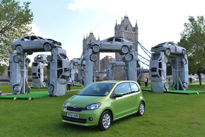The Stonehenge replica is made completely from recycled car parts