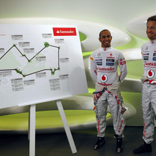 Lewis Hamilton and Jenson Button presenting the route