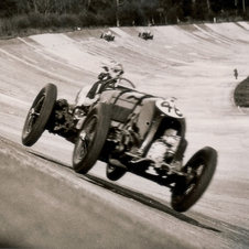 The car was raced around the banked Brooklands circuit by Sir Henry Birkin