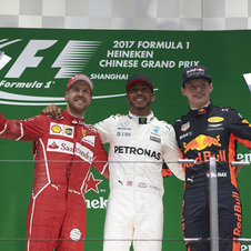 Sebastian Vettel and Max Verstappen were alongside Hamilton on the podium of the Chinsese Grand Prix