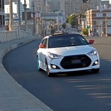 From the outside, it is a mostly stock Veloster