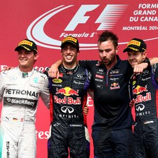 Rosberg and Vettel were with Ricciardo at the podium in Canada