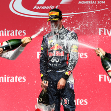 The usual champagne bath in Ricciardo's victory
