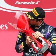 Ricciardo celebrates his maiden win in Formula 1