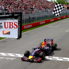 Ricciardo crossing the finish line in first place