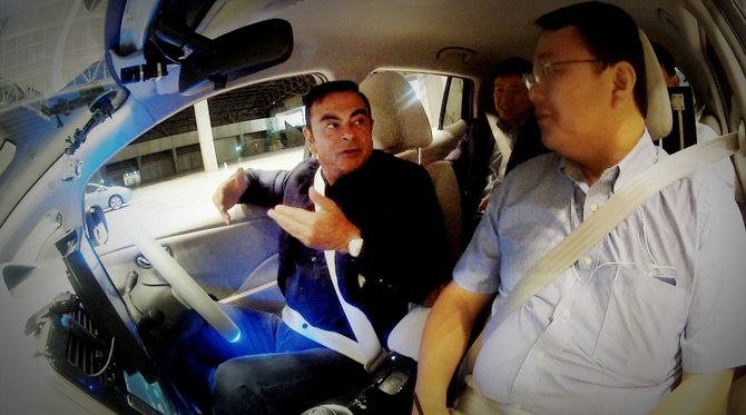 Ghosn is among the first people to experience the cars