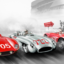 The exhibit covers Mercedes' history in the historic Mille Miglia