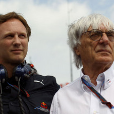 Bernie Ecclestone and Red Bull Manager Christian Horner
