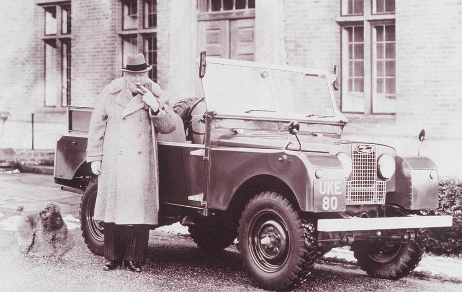 Winston Churchill with his Land Rover, 1952