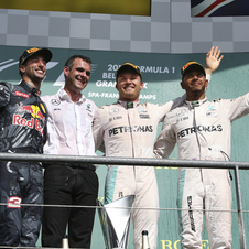 On the podium with Rosberg were Ricciardo and Hamilton