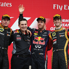 The Lotus duo went to the podium with Vettel