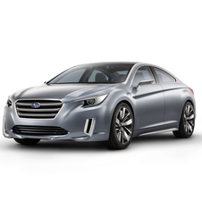 Subaru says that the Legacy will combine an angular front with four-door coupe-like body