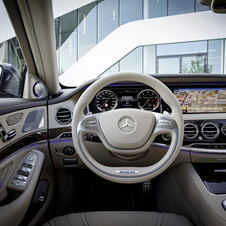 It has a two-spoke AMG steering wheel and standard head-up display