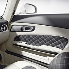 A white interior is also available and the carbon fiber trim is optional