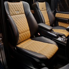 The quilted leather interior is standard on the G65 and an option on the G63