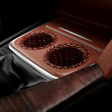 Leather-wrapped cup holders