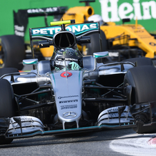 Rosberg led the race from start to finish, crossing the checkered flag with a 15 second lead over Hamilton