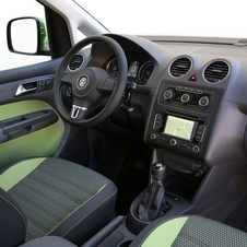 The Caddy Cross interior matches the exterior with its two-tone seats