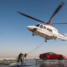 The car was delivered to the helipad be helicopter