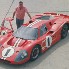 Shelby posing with the GT40 Mk.IV that ran in two races the 12 Hours of Sebring and 24 Hours of Le Mans and won both