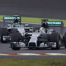 The two Mercedes continue to dominate the 2014 season