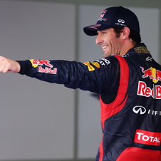 Webber beat his team mate on the last lap to conquer pole position