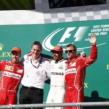 Hamilton was joined by Ferrari duo Vettel and Raikkonen in the podium