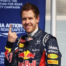 Vettel celebrating his first pole position of the season