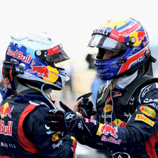 Vettel and Webber celebrate a one-two victory from Red Bull