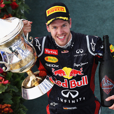 Vettel with the trophy after winning the Bahrain Grand Prix