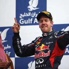 Vettel celebrating on the podium