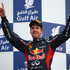 Vettel on the podium after victory in sunday's Bahrain Grand Prix